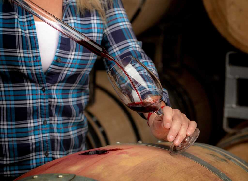 Sara's arm, wine thief, barrel, glass of red wine