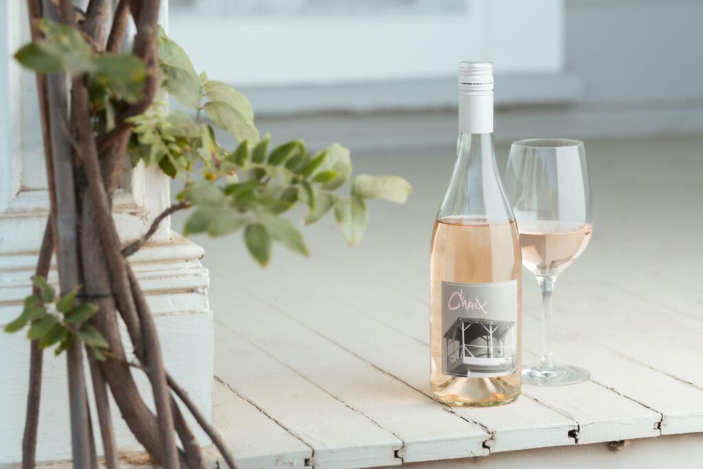 rosé on white porch